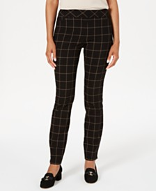 Charter Club Petite Windowpane Plaid Pants, Created for Macy's