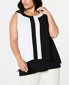 Alfani Plus Size Colorblocked Layered Top, Created for Macy's