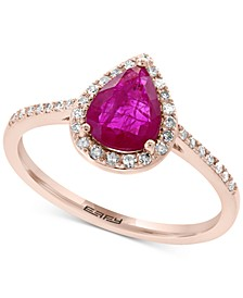 EFFY® Certified Ruby (9/10 ct. t.w.) & Diamond (1/6 ct. t.w) Statement Ring in 14k Rose Gold