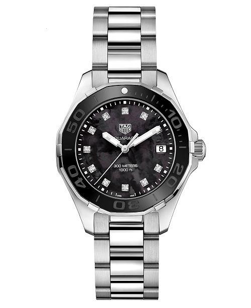 TAG Heuer Women's Swiss Aquaracer Diamond (1/10 ct. t.w.) Stainless Steel Bracelet Watch 35mm