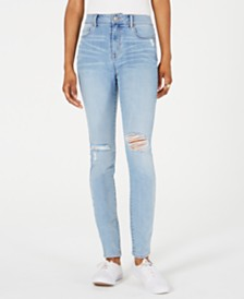 Rewash Juniors' Ripped High-Waist Skinny Jeans