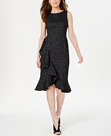 Animal-Print Jacquard Ruffled Dress