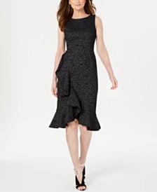 Calvin Klein Animal-Print Jacquard Ruffled Dress