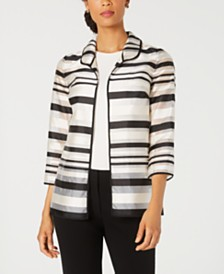 Kasper Petite Shadow-Stripe Jacket