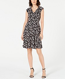 Petite Floral-Printed Ruffled Wrap Dress