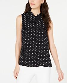 Anne Klein Dot-Print Sleeveless Shirt