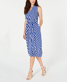 Anne Klein Bias-Stripe A-Line Dress