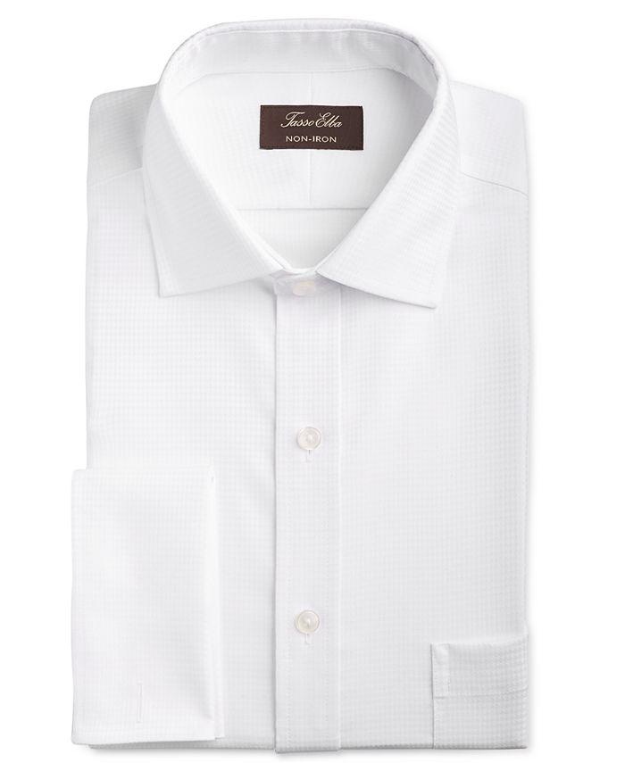Tasso Elba - Men's Classic/Regular Fit Non-Iron Stretch Tonal Diamond French Cuff Dress Shirt