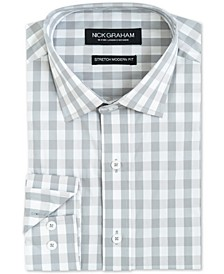 Men's Modern-Fit Performance Stretch Mini-Gingham Dress Shirt