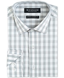 Nick Graham Men's Modern-Fit Performance Stretch Mini-Gingham Dress Shirt