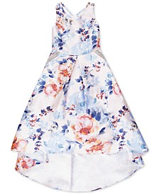 Speechless Big Girls Floral-Print Mikado Pocket Dress