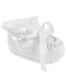 Baby Girl Crochet Bootie with Satin Tie
