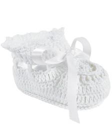 Baby Deer Baby Girl Crochet Bootie with Satin Tie
