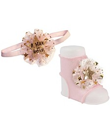 Baby Girl Peep Toe Sock and Headband with Gold Metallic Star Print Tulle Pom