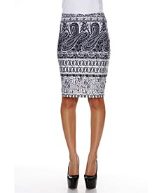 Graystone Columns Paisley Print 'Victoria' Pencil Skirt