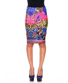 Rainbow Python Pencil Skirt