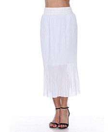 White Mark Pleated Midi Skirt