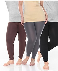 Pack of 3 Women's Plus Size Legging (One Size Fits Most)