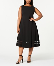 Calvin Klein Trendy Plus Size Illusion-Hem Midi Dress