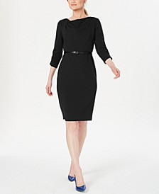 Belted Cowlneck Sheath Dress