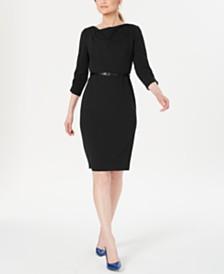 Calvin Klein Belted Cowlneck Sheath Dress