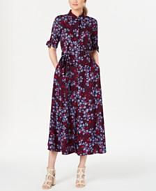 Calvin Klein Floral-Print Maxi Shirtdress