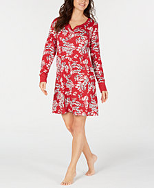 Charter Club Long Sleeve Printed Cotton Sleepshirt Nightgown, Created for Macy's