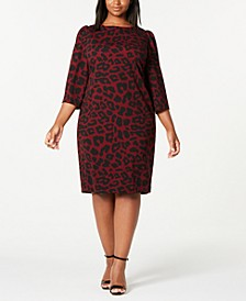 Trendy Plus Size Animal-Print Puff-Shoulder Dress