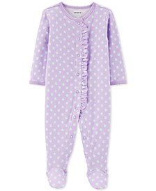 Baby Girls 1-Pc. Floral-Print Pointelle Cotton Footed Pajamas