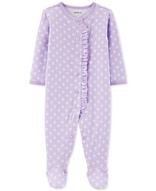 Carter's Baby Girls 1-Pc. Floral-Print Pointelle Cotton Footed Pajamas