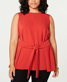 Trendy Plus Size Sleeveless Belted Blouse, Created for Macy's