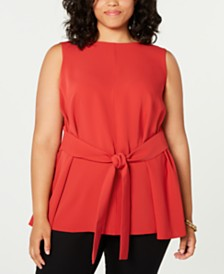 Bar III Plus Size Sleeveless Belted Blouse, Created for Macy's