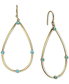 Reconstituted Turquoise Teardrop Drop Earrings in 18k Gold-Plated Sterling Silver
