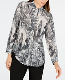 Weekend Max Mara Silk Desert-Floral Top