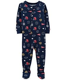 Baby Boys Sports-Print Footed Pajamas