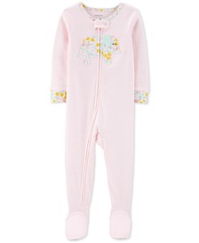 Baby Girls 1-Pc. Cotton Striped Elephant Pajama