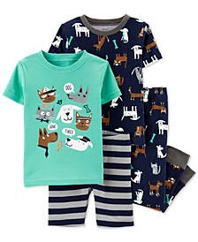 Baby Boys 4-Pc. Cotton Printed & Striped Pajama Set