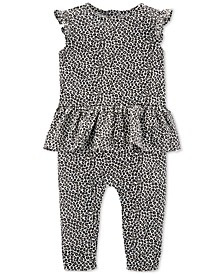 Baby Girls Leopard-Print Cotton Jumpsuit