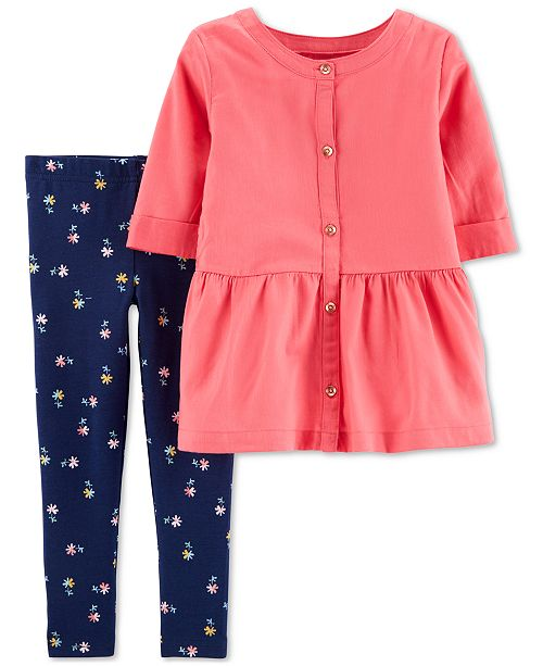 Carter's Toddler Girls 2-Pc. Button-Front Top & Floral-Print Leggings Set