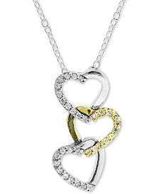 "Giani Bernini Two-Tone Cubic Zirconia Heart 18"" Pendant Necklace, Created for Macy's"