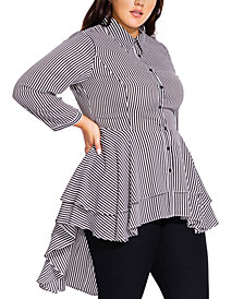 City Chic Trendy Plus Size Stripe Flutter Shirt