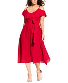 City Chic Trendy Plus Size Cold-Shoulder Fit & Flare Dress