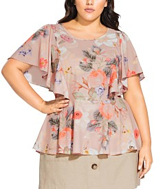 City Chic Trendy Plus Size Floral-Print High-Low Top
