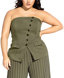 Trendy Plus Size Buttoned Corset Top