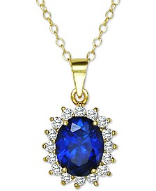 """Giani Bernini Sterling Silver Sapphire-Blue Cubic Zirconia 18"""" Pendant Necklace, Created for Macy's"""