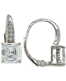 Giani Bernini Cubic Zirconia Square Drop Earrings in Sterling Silver, Created for Macy's