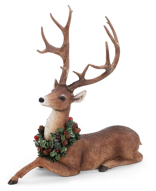 Napco Resting Deer with LED Wreath