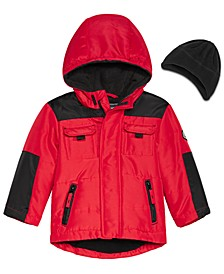 Baby Boys Hooded Colorblocked Jacket & Hat