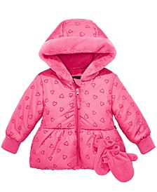 Baby Girls Flocked-Heart Hooded Jacket & Mittens