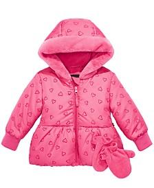 S Rothschild & CO Baby Girls Flocked-Heart Hooded Jacket & Mittens